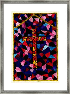 Stained Glass Cross Framed Print by Michael Vigliotti