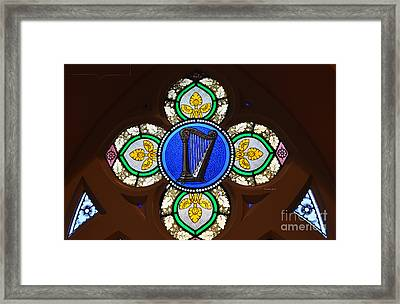 Stained Glass Harp Framed Print by Luther   Fine Art