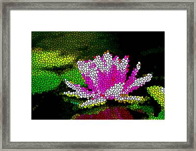 Stained Glass Pink Lotus Flower   Framed Print by Lanjee Chee