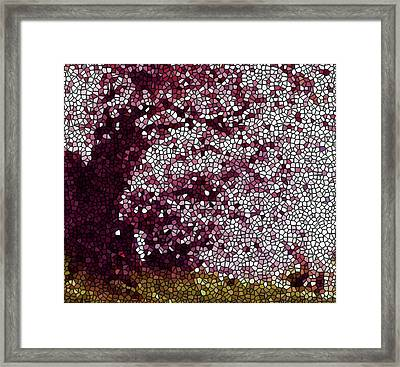 Stained Glass  Sakura Tree Framed Print by Lanjee Chee
