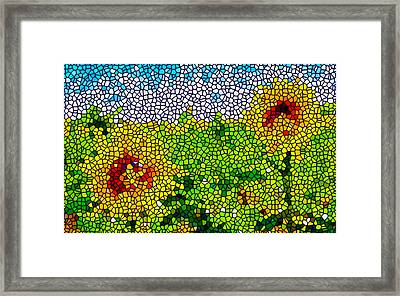 Stained Glass Sunflowers Framed Print by Lanjee Chee