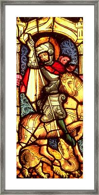 Stained Glass Window Depicting Saint George Framed Print by German School