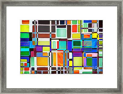 Stained Glass Window Multi-colored Abstract Framed Print by Natalie Kinnear