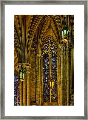 Stained Glass Windows At Saint Patricks Cathedral Framed Print by Susan Candelario