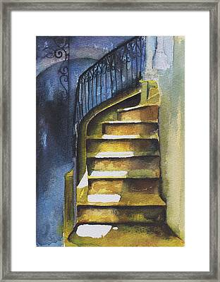 Staircase In Aleppo With Blue Shadows Framed Print by Deborah Meyler