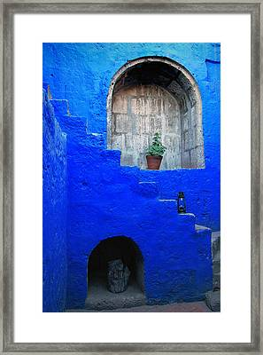 Staircase In Blue Courtyard Framed Print by RicardMN Photography