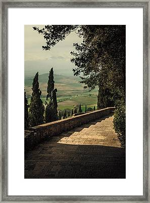 Staircase To Pienza Framed Print by Clint Brewer