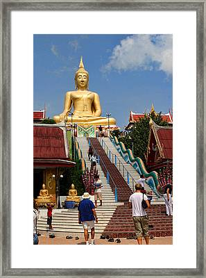 Staircase To Sitting Budda Framed Print by Linda Phelps
