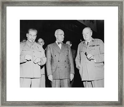 Stalin Truman And Churchill  Framed Print by War Is Hell Store