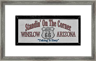 Standin' On A Corner In Winslow Arizona Framed Print by Christine Till