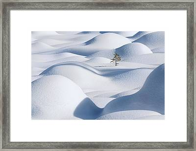 Standing In The Waves Framed Print by Victor Liu