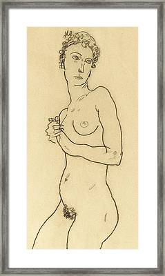 Standing Nude Framed Print by Egon Schiele