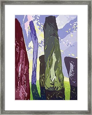 Standing Stones, Callanish, 2003 Gouache On Paper Framed Print by Derek Crow