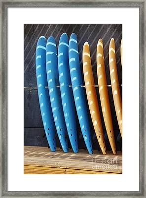 Standing Surf Boards Framed Print by Carlos Caetano