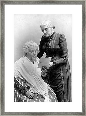 Stanton And Anthony Framed Print by Library Of Congress