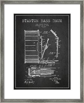 Stanton Bass Drum Patent Drawing From 1904 - Dark Framed Print by Aged Pixel