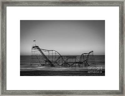 Star Jet Roller Coaster Bw Framed Print by Michael Ver Sprill