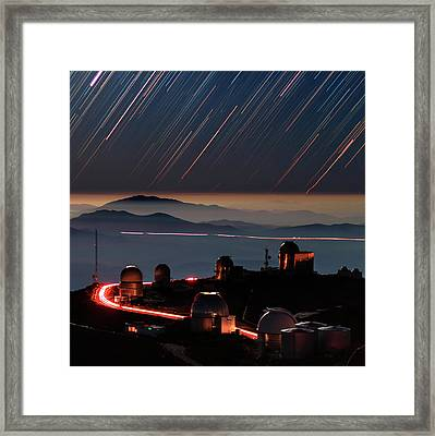 Star Trails Over La Silla Observatory Framed Print by Babak Tafreshi
