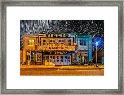 Star Trails Over The Rialto Framed Print by Paul Freidlund