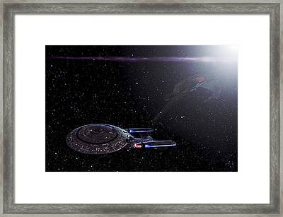 Star Trek - Ambush - Klingon Bird Of Prey - Uss Enterprise D Framed Print by Jason Politte