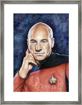 Captain Picard Portrait Framed Print by Olga Shvartsur
