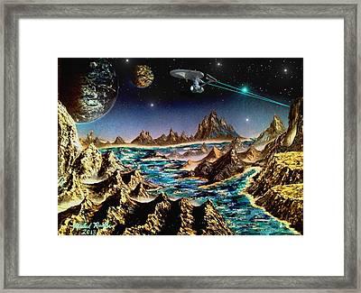 Star Trek - Orbiting Planet Framed Print by Michael Rucker