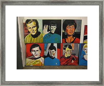 Star Trek Paintings - Kirk Spock Uhura Chekov Mccoy Scotty Chapel Framed Print by David Lovins