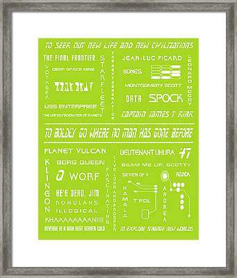 Star Trek Remembered In Green Framed Print by Georgia Fowler