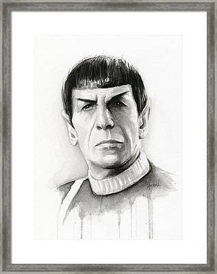 Star Trek Spock Portrait Framed Print by Olga Shvartsur
