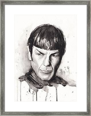 Star Trek Spock Portrait Sci-fi Art Framed Print by Olga Shvartsur