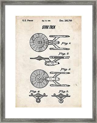 Star Trek Uss Enterprise Patent Art Framed Print by Stephen Chambers