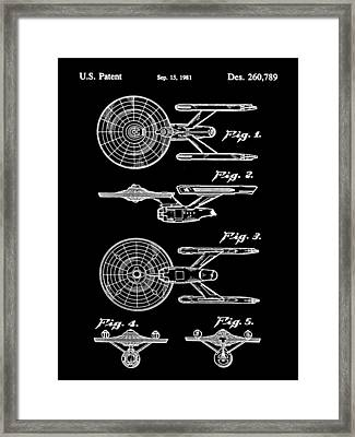 Star Trek Uss Enterprise Toy Patent 1981 - Black Framed Print by Stephen Younts