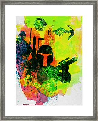 Star Warriors Watercolor 3 Framed Print by Naxart Studio