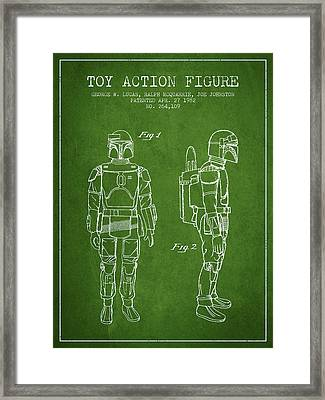 Star Wars Boba Fett Patent From 1982 - Green Framed Print by Aged Pixel