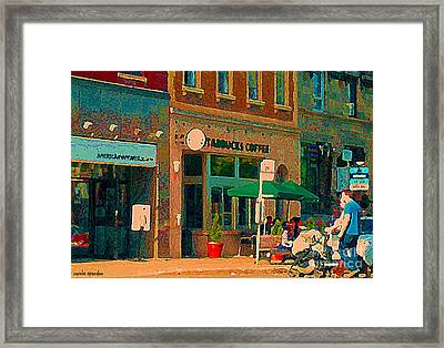Starbucks Cafe And Art Gold Shop Strolling With Baby By The 24 Bus Stop Sherbrooke Scenes C Spandau Framed Print by Carole Spandau