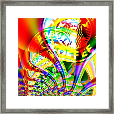 Starbucks Coffee In Abstract 20140704 Square V2 Framed Print by Wingsdomain Art and Photography