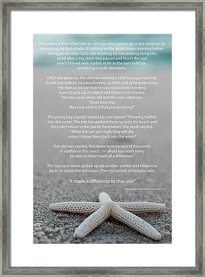 Starfish Make A Difference  Framed Print by Terry DeLuco