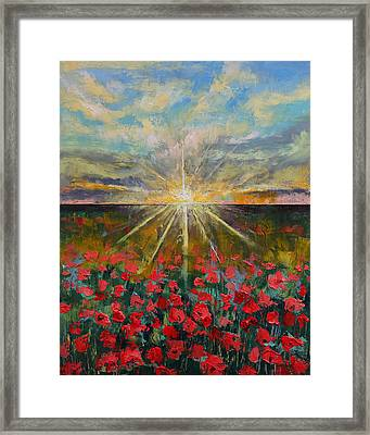 Starlight Poppies Framed Print by Michael Creese