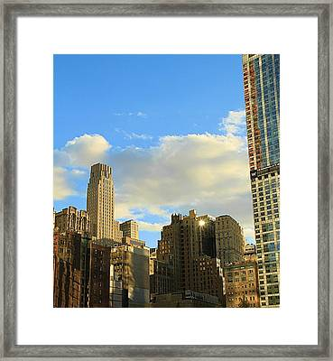 Manhattan Skyline Here Comes The Sun Framed Print by Dan Sproul