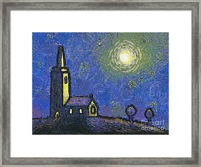 Starry Church Framed Print by Pixel Chimp
