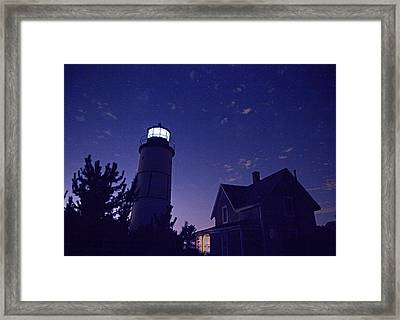 Starry Night At Sandy Neck Lighthouse Framed Print by Charles Harden