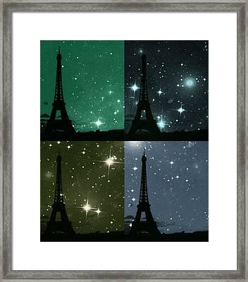 Starry Night - Eiifel Tower Paris Framed Print by Marianna Mills
