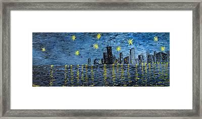 Starry Night In Chicago Framed Print by Rafay Zafer