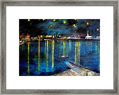 Starry Night Over The Rhone River Framed Print by Rick Todaro