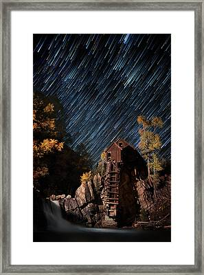 Starry Night Star Trails At The Crystal River Mill Framed Print by Mike Berenson