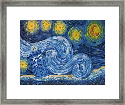 Starry Tardis Night Framed Print by Deirdre DeLay