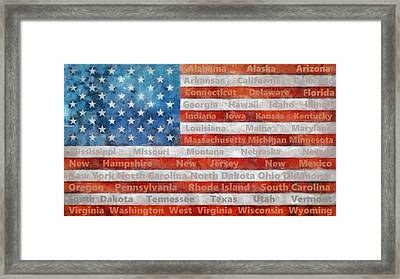 Stars And Stripes With States Framed Print by Michelle Calkins