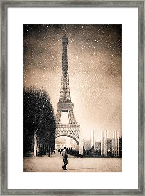 Stars Fall On The Eiffel Tower Framed Print by Mark E Tisdale