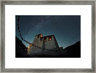 Stars Over The Monastery Framed Print by Aaron S Bedell