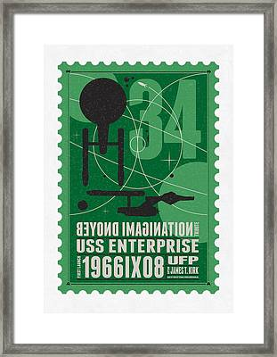 Starschips 34-poststamp - Uss Enterprise Framed Print by Chungkong Art